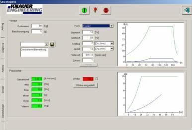 Software: VIBROCONTROL / Menu operation, plausibility, calculation for testing tables