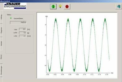 Software: VIBROCONTROL / Menu Acceleration sensor for vibration test tables
